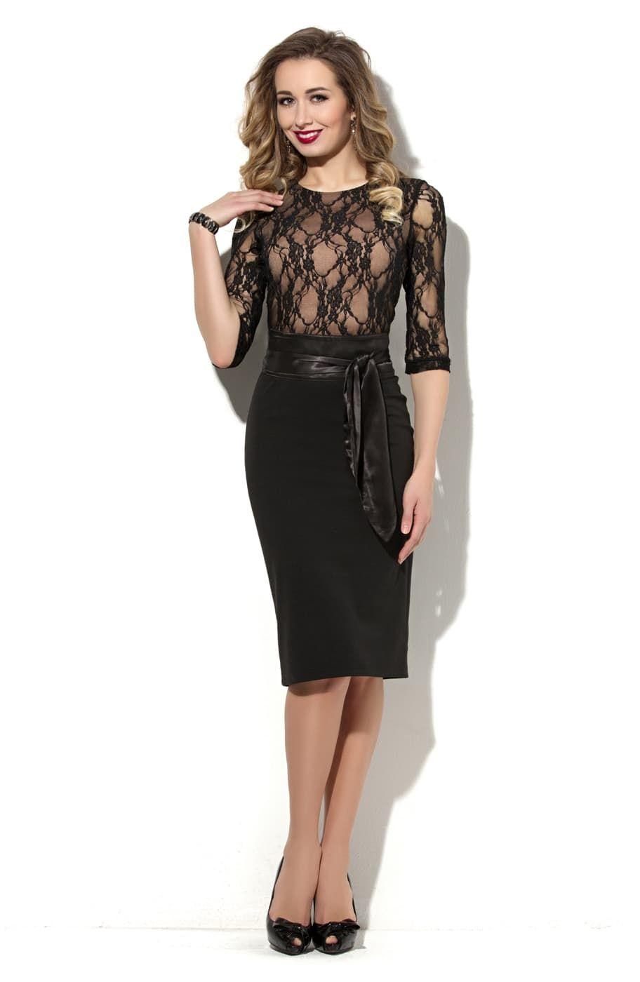 Черное кружево платье купить